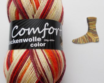 sock yarn, red - orange, 4ply (215.06)