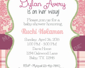 Personalized Vintage Floral #5 Baby Shower Invite, Girl Baby Shower, Boy Baby Shower, Party, Printable file or Printed