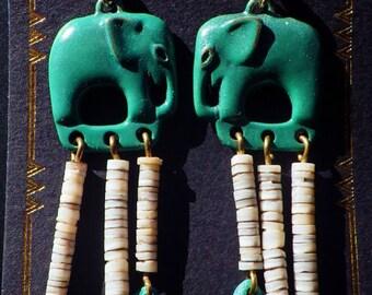Hishi Patina Elephant Earrings by D'Artefax
