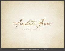 Premade Photography Logo Design - Modern Gold Signature. Add-ons available: favicon, watermark, PSD, EPS, black and white version - KELD013