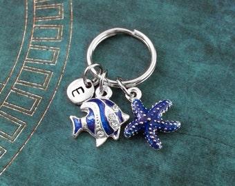 Blue Starfish Keychain, SMALL Blue Striped Fish Keyring, Personalized Keychain, Starfish Keyring Beach Keychain, Charm Keychain Fish Keyring