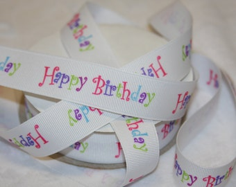 "1"" Happy Birthday grosgrain Ribbon   R53"