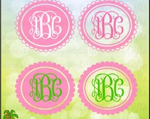 Scallop Oval Monogram Frame Base Solid and Lace Designs Digital Clipart Instant Download Full Color Jpeg, Png, SVG, DXF EPS Files