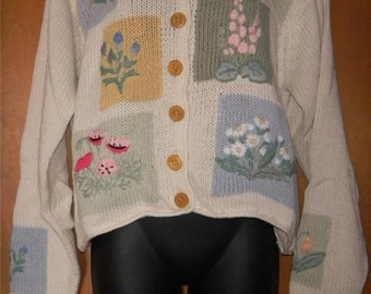 Orvis Intarsia Knit Ramie & Cotton Cardigan Sweater in Medium with Wood Buttons