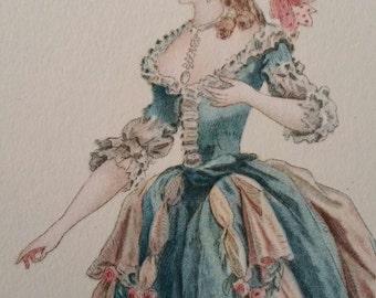 """Vintage 1940's Litho Print - Beautiful Paris Woman # 21902  -  8 x 10"""". Good Condition."""