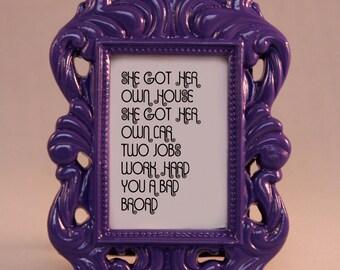 Custom Framed Lyrics Quote Webbie Independent motivational inspriational home decor gift dorm office desk decor ornate hip hop rap feminist
