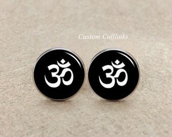Om cufflinks,  yoga cufflinks, wedding cufflinks,groomsmen gift,Yoga OM Mens Cufflinks,Sports Cufflinks, Silver Cufflinks,OM Symbol Cufflink