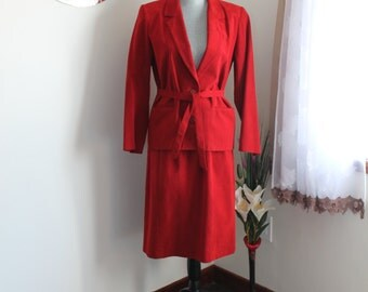 Red Ultrasuede Suit by Eatons, 80s Suit Jacket Skirt,  Size 10, Belted Jacket Long Sleeve