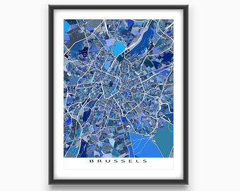 Brussels Belgium, Brussels Map Print, Europe City Map Art Poster