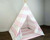 Girls Play Teepee and Play Mat in Pink and White Large Horizontal Stripe Tipi print