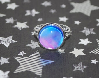 Adjustable ring - interstellar cloud pink and blue
