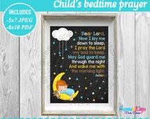 Child's bed time prayer, child's wall art, nursery wall art, Boys wall art, Boys nursery wall art, Chalkboard sign, Instant dowload