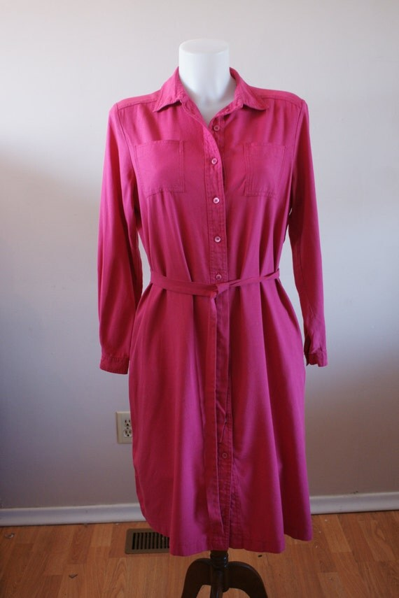 Pink Long Sleeve 100 Silk Shirt Dress With By