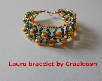LAURA gold-green beaded Bangle by Craaloosh. Handmade Croatian Traditional Jewelry