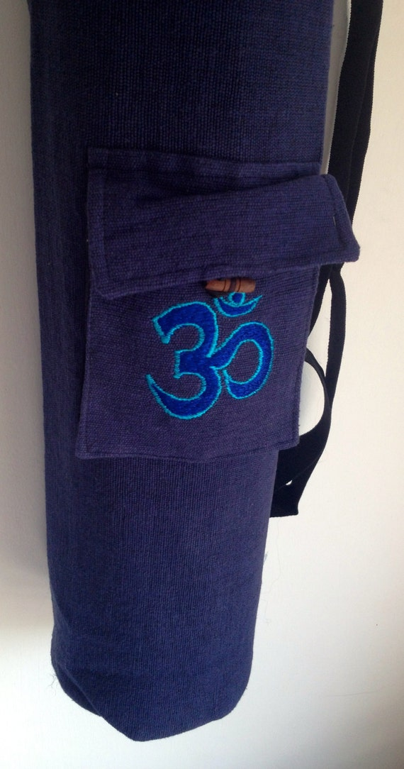 Yoga Mat Bag Dark blue Pilates Mat Bag Woven Cotton Om Ohm Aum handmade Embroidered Adjustable carry strap Option with or without pocket