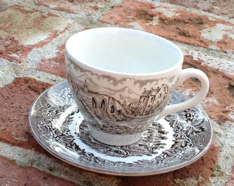 Brown Ironstone Transferware Castles Cup and Saucer by English Ironstone Tableware