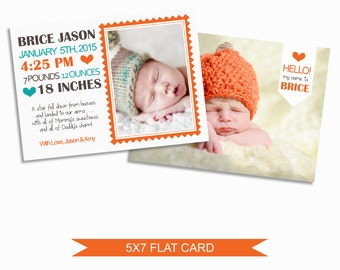 Birth Announcement Card Template - 5x7 Digital Photography Photoshop File - Template for Photographers - NC04 - INSTANT DOWNLOAD