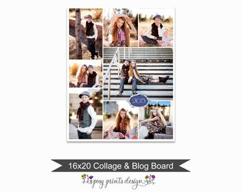 Blog Board & Collage Template 16x20 - Social Media Collage Template - Digital Storyboard - Instant Download - BCB18