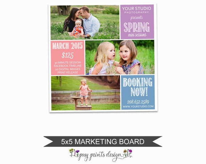 Spring Mini Session Marketing Board - Template for Photographers - Digital Photoshop Template - 5x5 Photography Design - SMS04