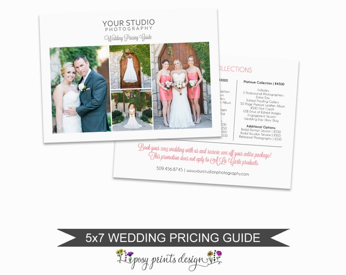 Wedding Photographer Price List - Wedding Pricing Guide Template - Photoshop Marketing Materials - 5x7 Wedding Price Sheet - PGT03