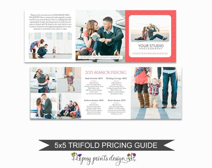 Photographer Trifold  Pricing Guide - Portrait Pricing Guide Template - Photoshop Marketing Materials - 5x5 Trifold Price Sheet - PGT07