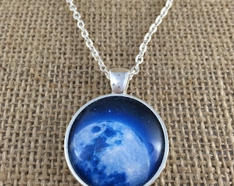 Blue Moon Rising Glass Pendant Necklace with Chain