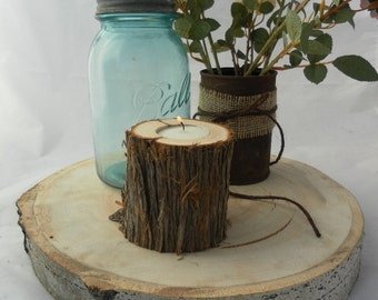 12 Juniper Log Candle Holders ~ Rustic Wedding Candles ~ Spring Wedding