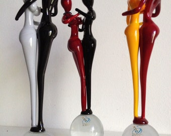 Murano Glass Lovers Dancers Handmade Red and Black
