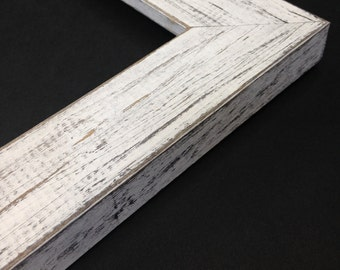 WHITE Rustic Wood Picture Frame, Reclaimed Distressed Wood - All Wood - 4x6, 5x7, 8x10, 11x14, 16x20, 18x24, 24x36 + Custom Frame Sizes