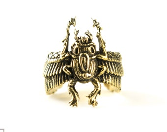 Egypt Scarab Ring Golden Color Bronze Adjustable Ring Beetle Wrap Ring Boho Jewelry - FRI006YB
