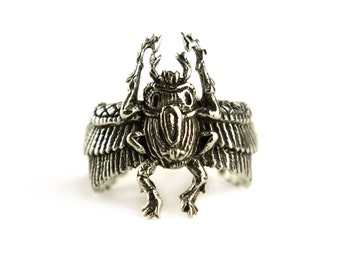 Egypt Scarab Ring Antique Silver Color Bronze Adjustable Ring Beetle Wrap Ring Boho Jewelry - FRI006 WB or SS