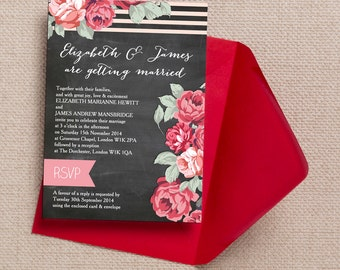 Chalkboard with Red and Pink Flowers Wedding Invitation & RSVP with envelopes