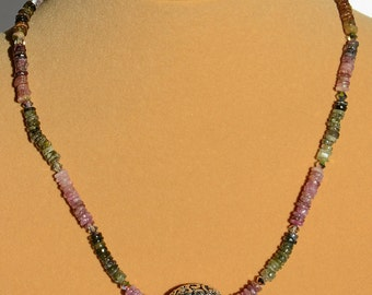 Necklace - Tourmaline & Silver Filigree