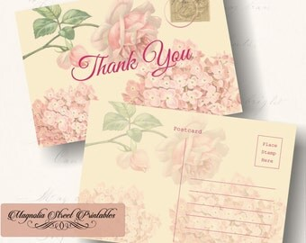 Thank You Postcard, Shabby Printable Thank You Post Card, Wedding Thank You Card, Bridal Shower Thank You, Instant Digital Download