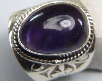 Amethyst ring, Silver Amethyst stone ring , Sterling silver overlay amethyst ring, Gemstone ring Size 5 5.5 6 6.5 7 7.5 8 , ring-0314140152