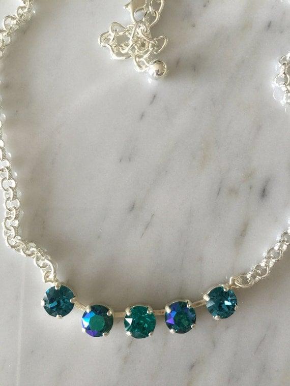 Swarovski Indicolite Crystal Necklace, Blue Crystal Necklace, Blue Zircon Crystal Necklace