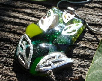 One of a Kind  Green Pendant Necklace