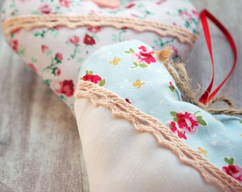 Floral Fabric Hanging Hearts