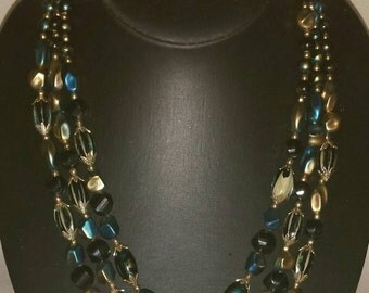 Vintage 1950s Gold & Blue Triple Strand Beaded Necklace