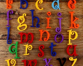 Curlz Alphabet Set.  3mm Felt Lower, Case Letters A-Z 26 Characters Sizes 5-12cm