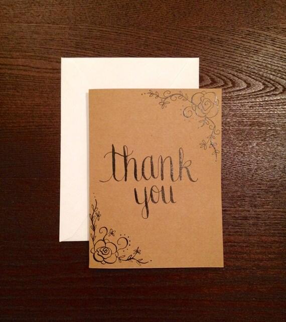 Modern calligraphy thank you card handwritten