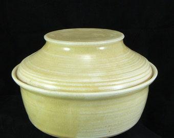 Honeycomb Yellow Hand Thrown Pottery Lidded Casserole Dish