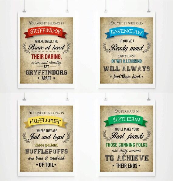 Harry Potter Prints Hogwarts Houses Wall Art Harry By