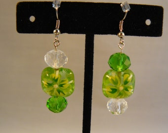 Handpainted, Green and Crystal Earrings