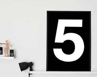 "Number 5 Printable Poster - Nursery Print Number - Scandinavian Poster - Typography Print -  Number 5 Wall Art - 70x100 cm, 27x40"",11x14"",A3"