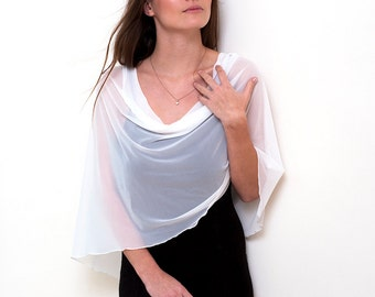 White shrug bolero with 4 wearing options- shawl, shrug, infinity scarf and crisscross (CF101)