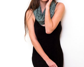 Lace infinity scarf with 4 wearing options- shawl, shrug, crisscross and infinity scarf. color sage (CL)