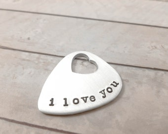 Guitar pick hand stamped gift for him or her, Hand Stamped, music lover
