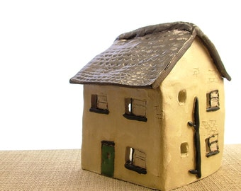 Stoneware Clay House Ornament - House Sculpture - Cottage Ornament