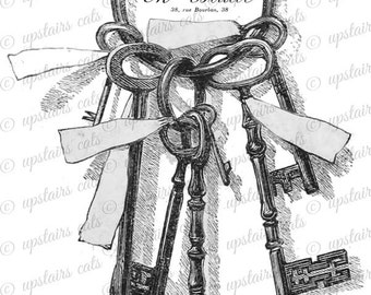 Vintage Keys with Ribbon and French Label Clipart -  Antique French Victorian Key Printable Graphics - Instant Digital Download Image.